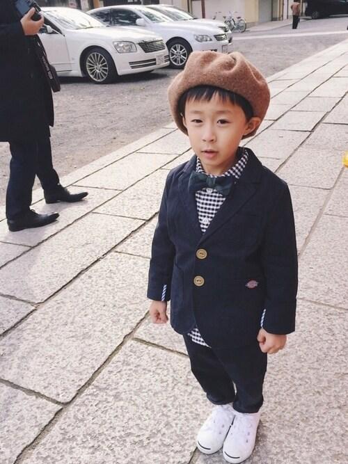 SHUUU:さんの「長袖丸襟シャツ KIDS(Danton)」を使ったコーディネート