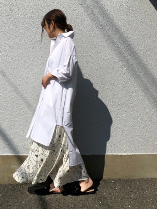 sakamoto shizukaさんの「アートフラワーロングスカート(Bou Jeloud)」を使ったコーディネート
