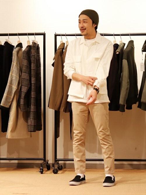 WEB・EC部ウエダさんのシャツ/ブラウス「フィンクスポプリン ミリタリーシャツ(TOMORROWLAND|トゥモローランド)」を使ったコーディネート