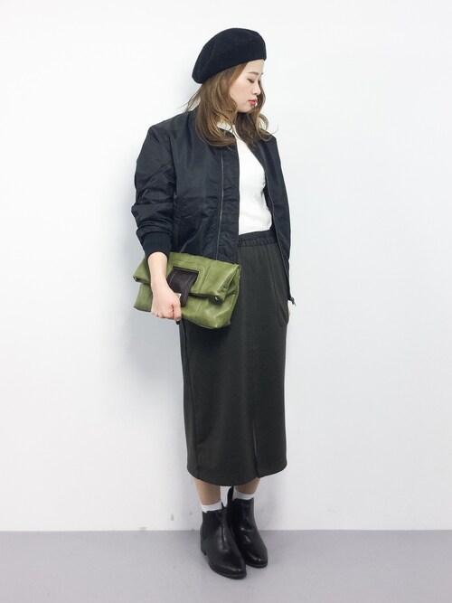 ZOZOTOWNisaさんのMA-1「[GIORDANO]パテッドMA-1ジャケット(GIORDANO ジョルダーノ)」を使ったコーディネート