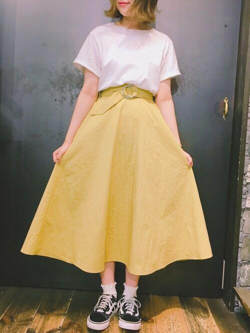 r・p・s イオンモール東員店あさぽんさんのスカート「ダブルリングベルトTCタイプライタースカート(rps|アールピーエス)」を使ったコーディネート