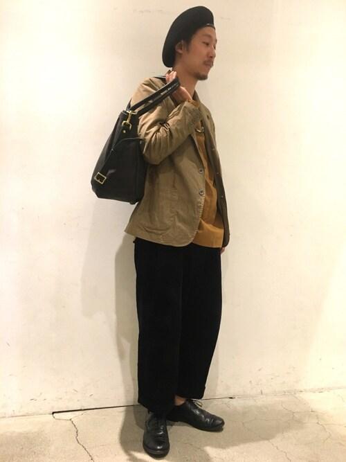 Uncut Bound 新宿sandinistaさんのトートバッグ「SLOW(スロウ)   別注ホースレザー2WAYトートバッグ(SLOW|スロウ)」を使ったコーディネート