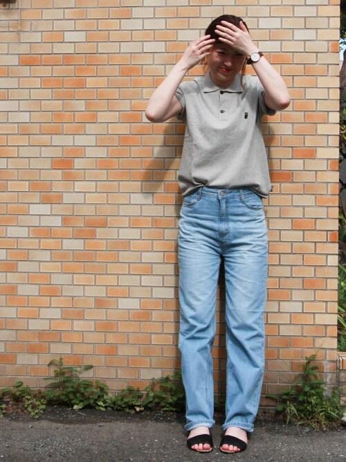 ジムマスターSTAFFmomoさんのポロシャツ「<ナノファイン加工>変形鹿の子フクロウ刺繍ポロ(gym master|ジムマスター)」を使ったコーディネート
