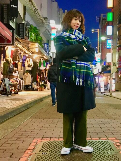 Uncut Bound 上野takamoriさんのストール/スヌード「[TWEED MILL/ツイードミル] 70×190ウールストールピン付(TWEED MILL|ツイードミル)」を使ったコーディネート