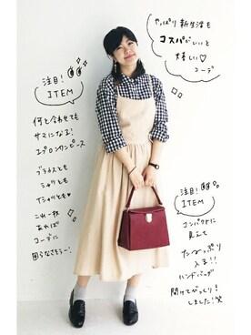 シンプルな服に合わせるだけでかわいいエプロンワンピースを使った人気ファッションコーディネート Wear