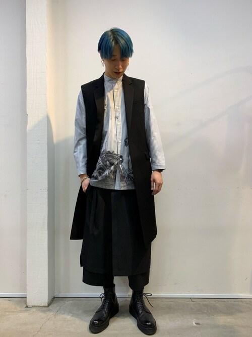 MIDWEST NAGOYA MEN広原由也さんのシャツ/ブラウス「ARAKI Print Stand Collar Stripe Shirt(CHRISTIAN DADA クリスチャンダダ)」を使ったコーディネート