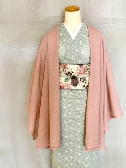 KIMONO MODERNYUKIさんの和装小物「帯締め-mint(リバーシブル)(KIMONO MODERN キモノモダン)」を使ったコーディネート
