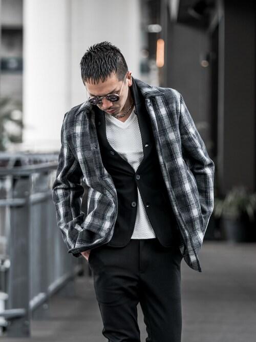 DIVINERyuuukiさんのTシャツ/カットソー「ラインストーン テレコVネック カットソー 長袖Tシャツ ロンT 長袖シャツ(JOKER ジョーカー)」を使ったコーディネート