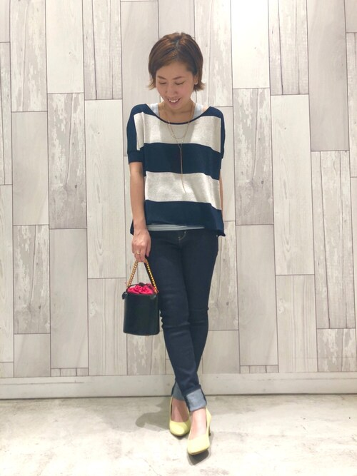 www.Q shop.jp Qひたちなかファッションクルーズ店マイコバさんのタンクトップ「ラメスリムタンク(Q キュー)」を使ったコーディネート