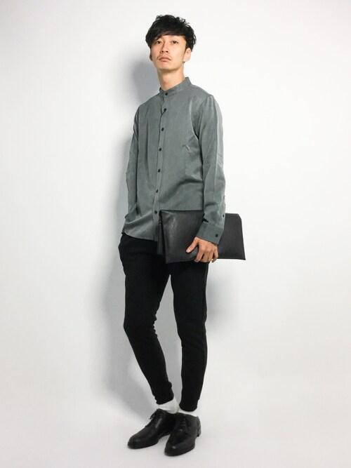 ZOZOTOWNRENさんのシャツ/ブラウス「T/R ストレッチ バンドカラーシャツ(MONO-MART|モノマート)」を使ったコーディネート