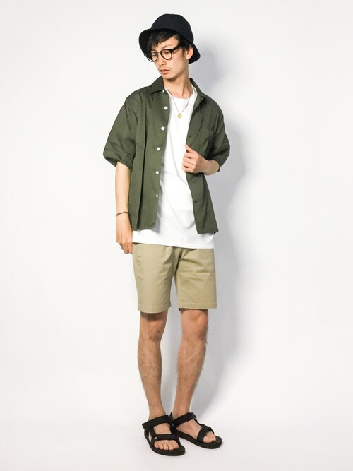 ZOZOTOWNRENさんのシャツ/ブラウス「オープンカラー半袖シャツ(URBAN RESEARCH ROSSO MEN|アーバンリサーチロッソメン)」を使ったコーディネート