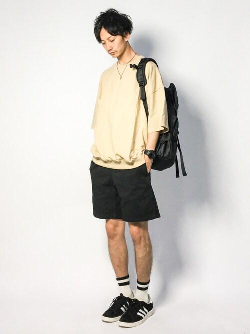 ZOZOTOWNRENさんのスウェット「カットオフスリーブ ワイドプルオーバー  1/2 sleeve(EMMA CLOTHES エマクローズ)」を使ったコーディネート