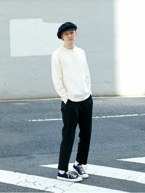 L&HARMONYL&HARMONYさんのTシャツ/カットソー「[L&HARMONY / エルアンドハーモニー] ハイクルーネックポケットロングスリーブTシャツ'Made in Japan'(L&HARMONY|エルアンドハーモニー)」を使ったコーディネート