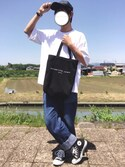 "MASAHITO is wearing SENSE OF PLACE by URBAN RESEARCH ""フェイクレザー6パネルCAP"""