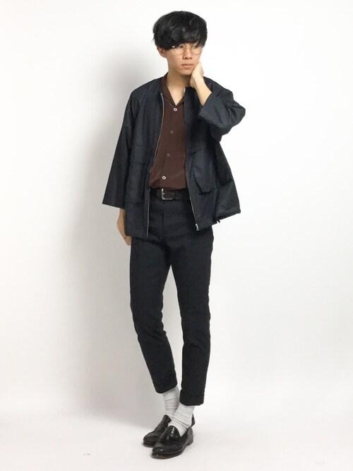ZOZOTOWNRyoさんのシャツ/ブラウス「ノーカラーZIPシャツ8分袖(HARE)(HARE|ハレ)」を使ったコーディネート