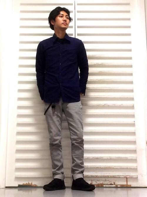 MORGAN HOMME北千住タザキさんのシャツ/ブラウス「クールマックスリネンシャツ(MORGAN HOMME|モルガンオム)」を使ったコーディネート