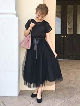 安中亜美さんの「デコルテシースルーチュールスカートワンピース2404(merlot plus|