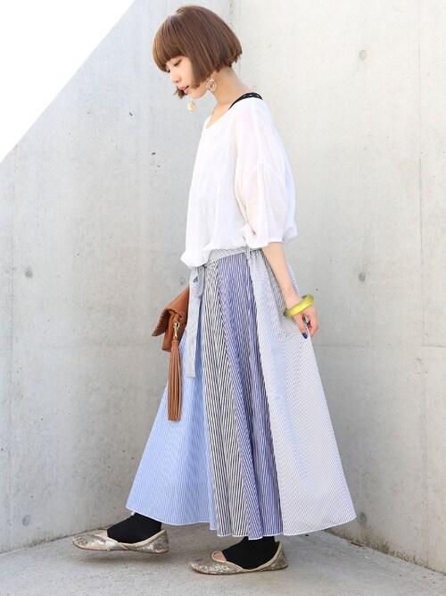 oshare walker zozo店osharewalkerさんのスカート「『ストライプデザインフレアスカート』(osharewalker|オシャレウォーカー)」を使ったコーディネート