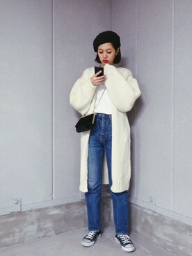 tomika_hatakeyamaさんの「HAND MADE WOOL KNIT GOWN(SLY)」を使ったコーディネート