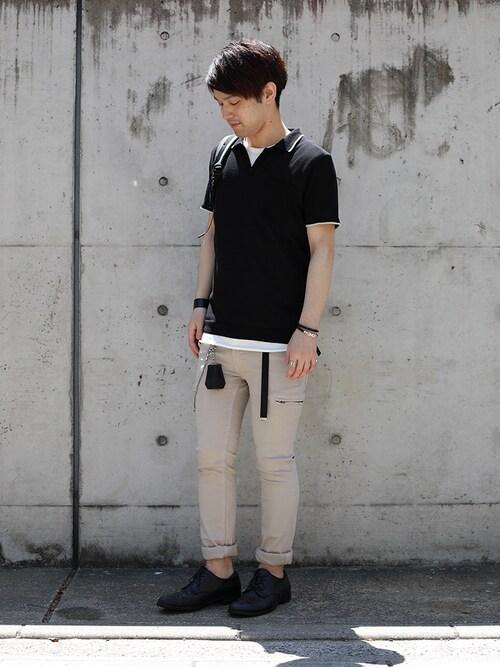 SHU KAWASAKIさんのニット/セーター「COOL POTTER スキッパーシャツ(LOUNGE LIZARD ラウンジリザード)」を使ったコーディネート