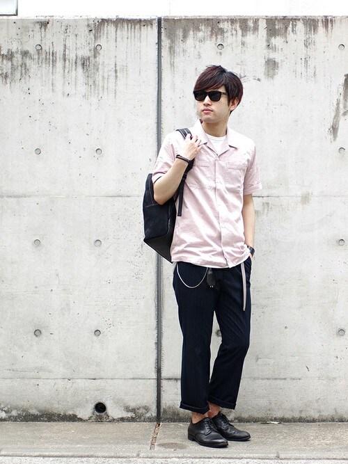 SHU KAWASAKIさんのシャツ/ブラウス「100/1 VINTAGE SATIN S/S シャツ(LOUNGE LIZARD|ラウンジリザード)」を使ったコーディネート