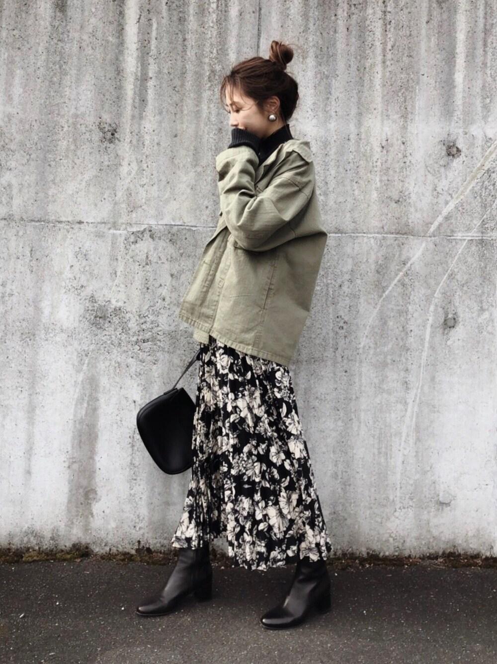 40代向け オーバーニット 花柄スカート titivate