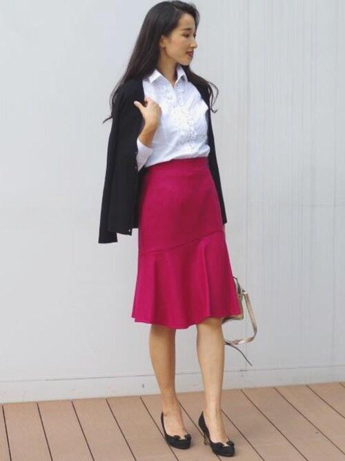NARA CAMICIE ECサイトVivianaさんのスカート「ジョーゼットマーメイドスカート(NARACAMICIE ナラカミーチェ)」を使ったコーディネート