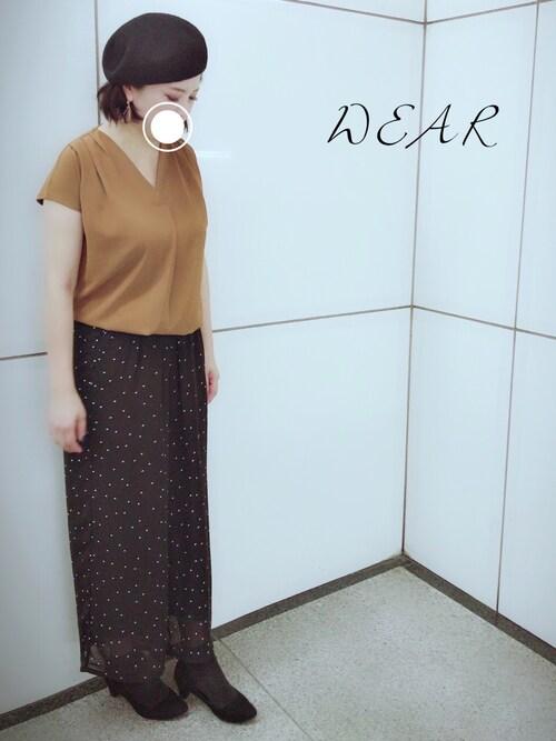 r・p・s エスカ店*megu*さんのシャツ/ブラウス「ネックレス付重ねVネック半袖ブラウス(rps|アールピーエス)」を使ったコーディネート