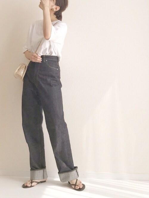 haru さんの「SAGLiFE/サグライフ ビッグシルエット ロゴプリント Tシャツ(SAGLiFE)」を使ったコーディネート