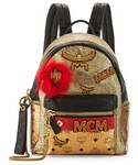 MCM | MCM Stark Small Leather Insignia Backpack, Gold(バックパック/リュック)