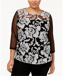 INC International Concepts Plus Size Embroidered Off-The-Shoulder Top 2X