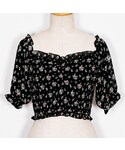 Crayme, | Flower Chiffon Shirring Tops(シャツ・ブラウス)