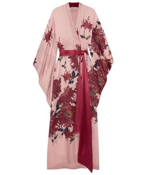 Carine Gilson «リーヌギルソン Á® Carine Gilson Floral Print Silk Satin Robe Pastel Pink Áã®ä»–アンダーウエア ¤ンナー Wear