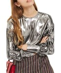 Topshop | Women's Topshop Balloon Sleeve Lame Blouse()