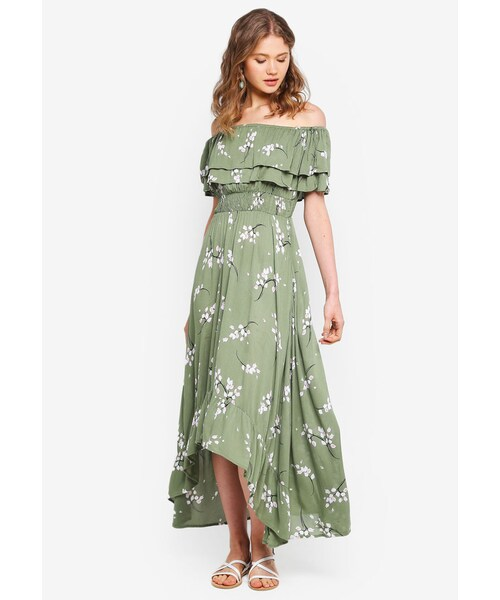 big discount best choice save up to 80% River Island,Green Floral Frill Bardot Maxi Dress - WEAR