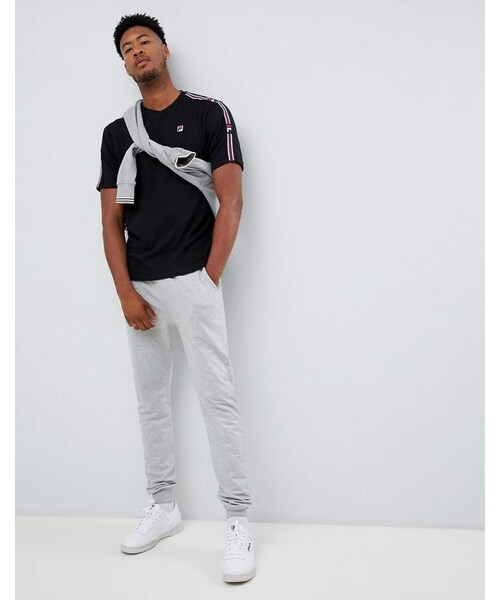 Fila,Fila White Line Heath T Shirt With Taping In Black WEAR