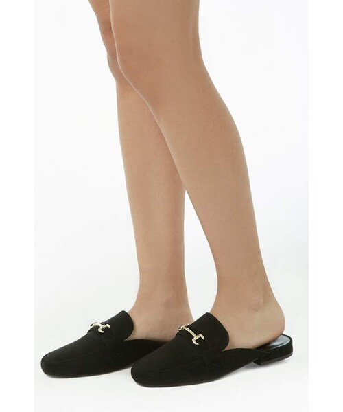 Forever 21 Faux Suede Loafer Mules - WEAR