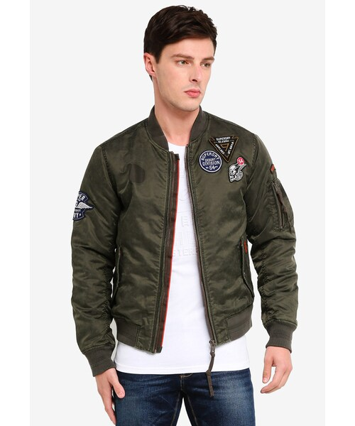 Mens Superdry Limited Issue Flight Bomber Jacket Washed Khaki