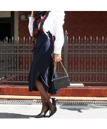 4926e08af0f5 CHANEL(シャネル)の「【CHANEL】ココマークボタンデザインプリーツスカート ネイビー