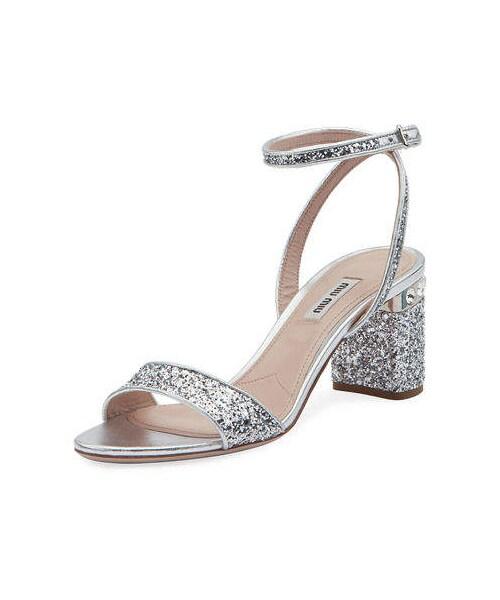Glitter crystal embellished pumps | Miu Miu