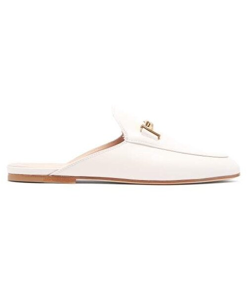 Backless Leather Loafers - Womens