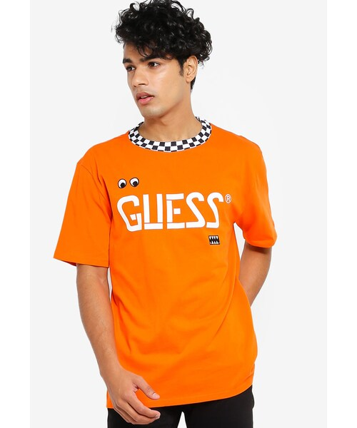 「GUESS x J Balvin Oversized Checkered Graphic Logo Tee」