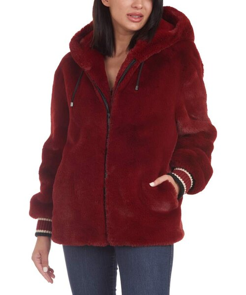 Rachel Roy Womens Faux Fur Coat