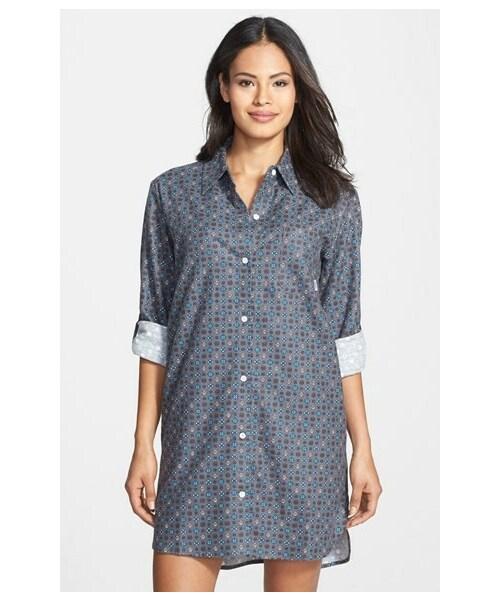 Dkny Printed Shirt Collar Sleepshirt