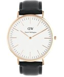 Daniel Wellington | Daniel Wellington Sheffield Rose Gold Black Leather Strap Watch - Black(腕時計)