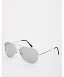 Asos | ASOS Silver Aviator Sunglasses With Mirrored Lens(Sunglasses)