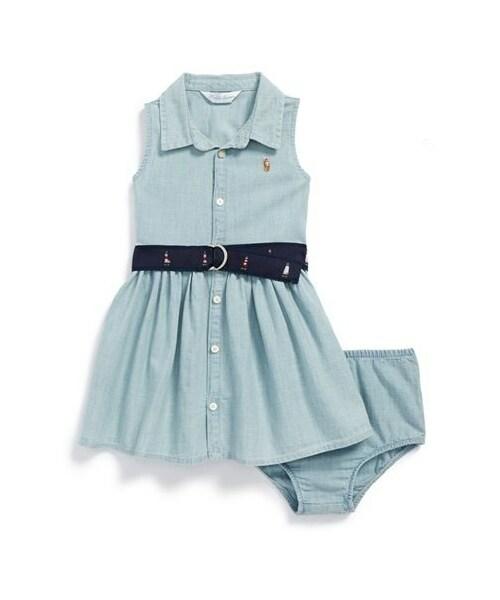 RALPH LAUREN Baby Girls Chambray Shirtdress Indigo